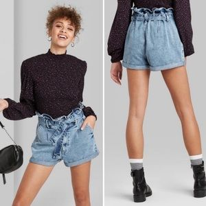 Wild Fable High Waisted Paper Bag Jean Shorts
